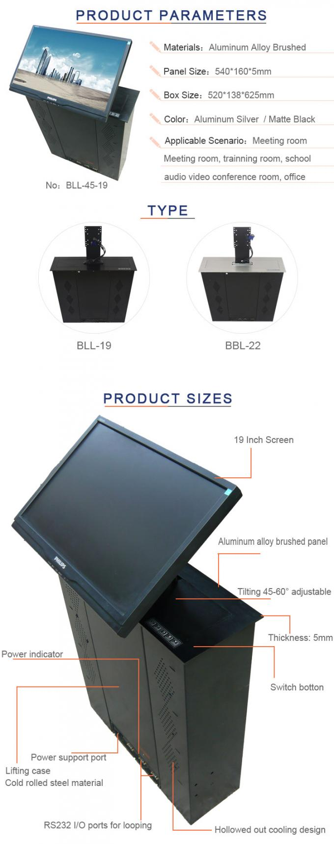 Black Aluminum Alloy Finishing Material Monitor Motorized Elevator With 45  Degree Screen Tilting BLL45-19