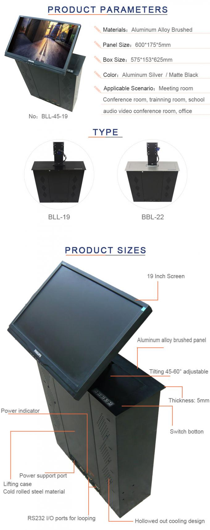 Touch Key - Press Control LCD Motorized Lift For Audio Video Conference System