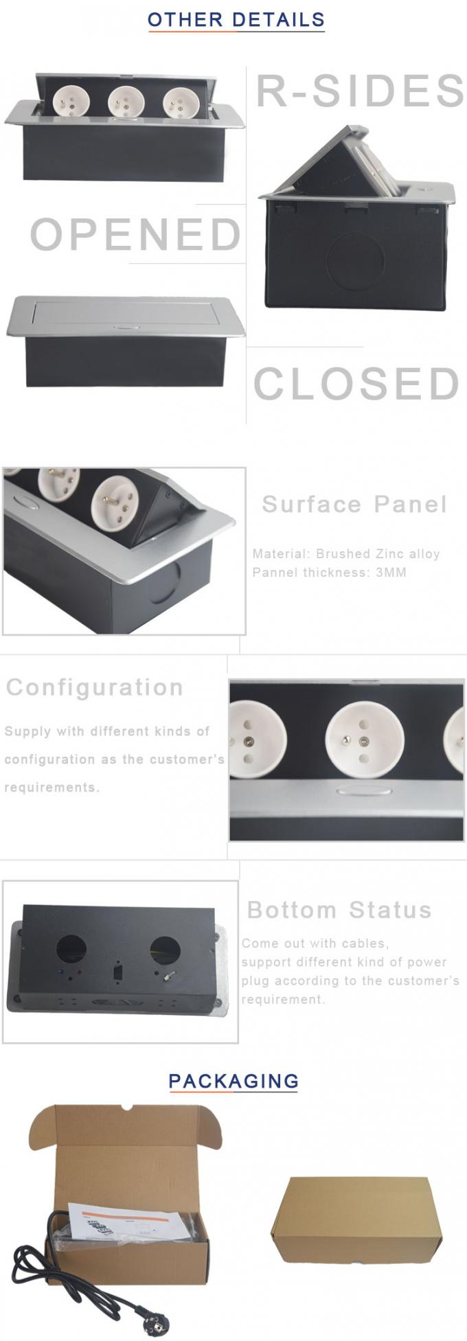 The Silver Oval Corner Pop-Up Socket Zinc Alloy Panel With Three French Power Interface BD613
