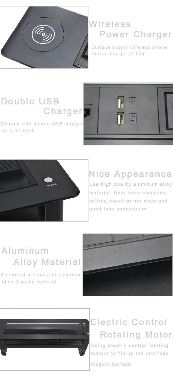 Round - Angle  Desk Flip Up Power Socket Have Wireless Charging Function Of Mobile Phone