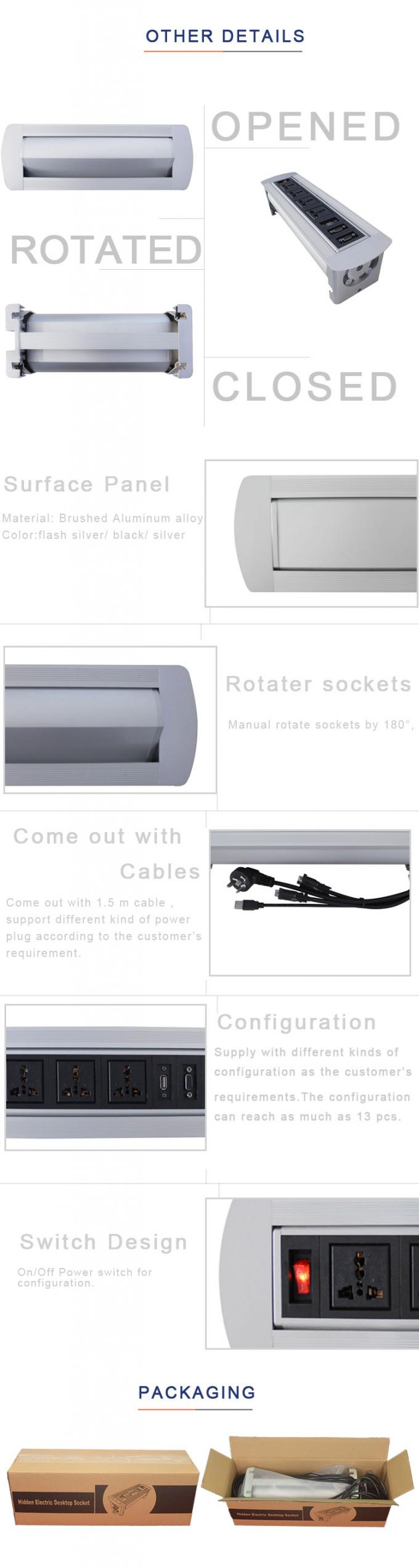 High-class  Chairman  Room Furniture Flip Up socket With 2*VGA Network Configuration