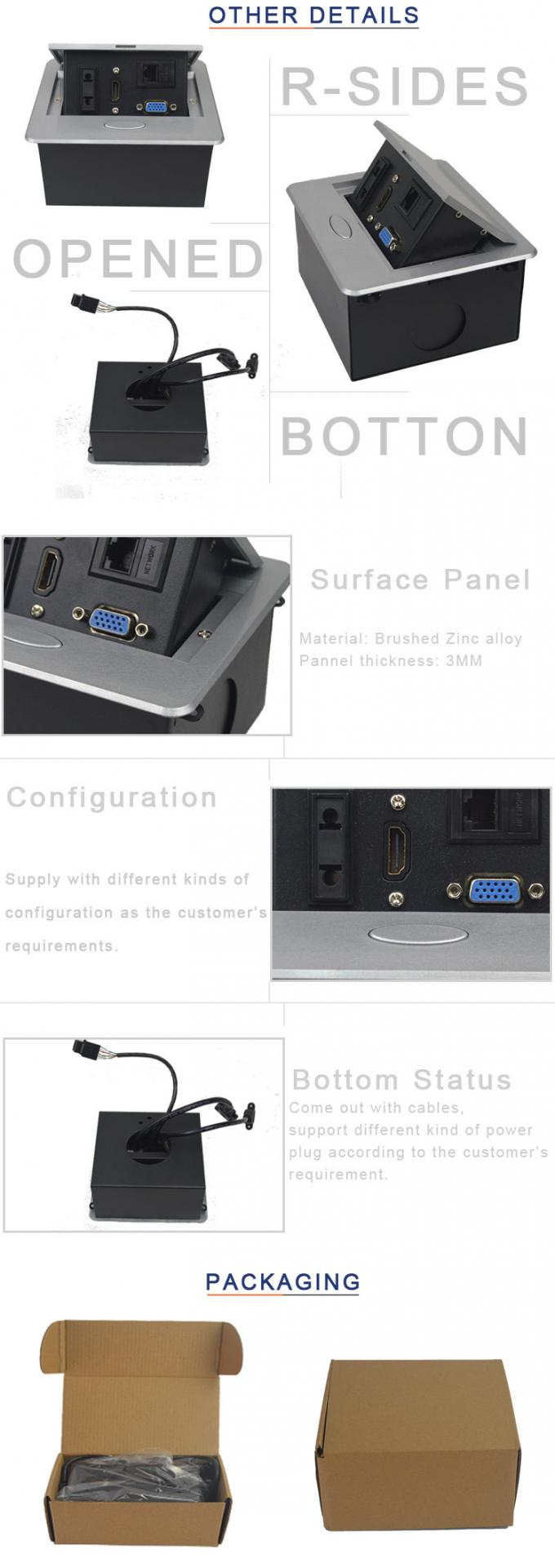 Furniture Pop Up Multimedia Socket   30Cm  Connection Wires Plugs Cable  Length With 110~240V  Rated Voltage
