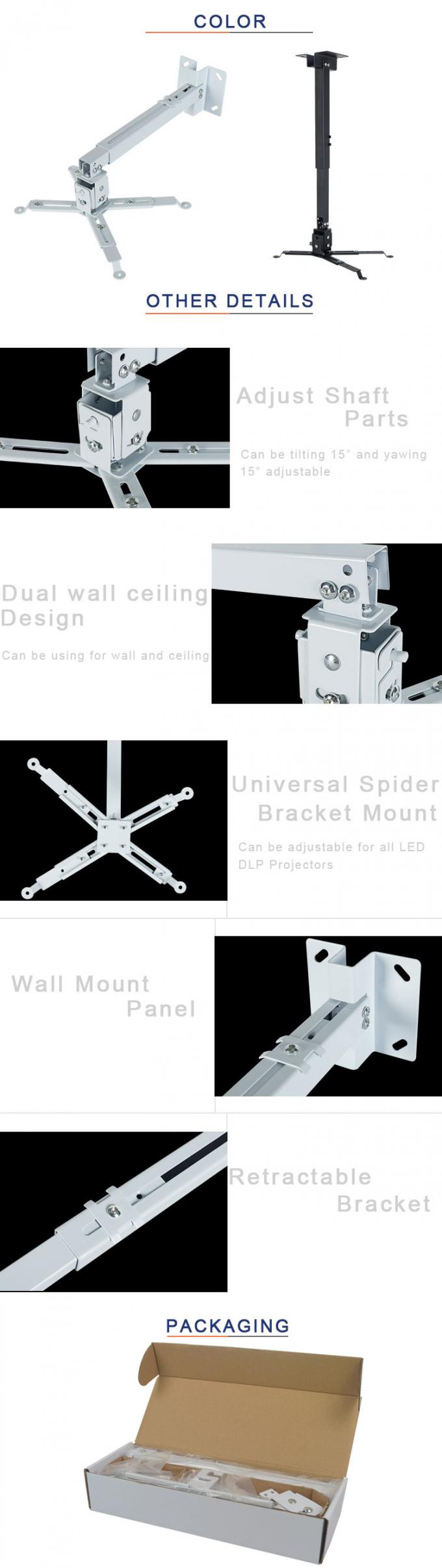 Square Pole Cold  Rolled  Steel  Material Projector Telescopic Ceiling Mount Kit