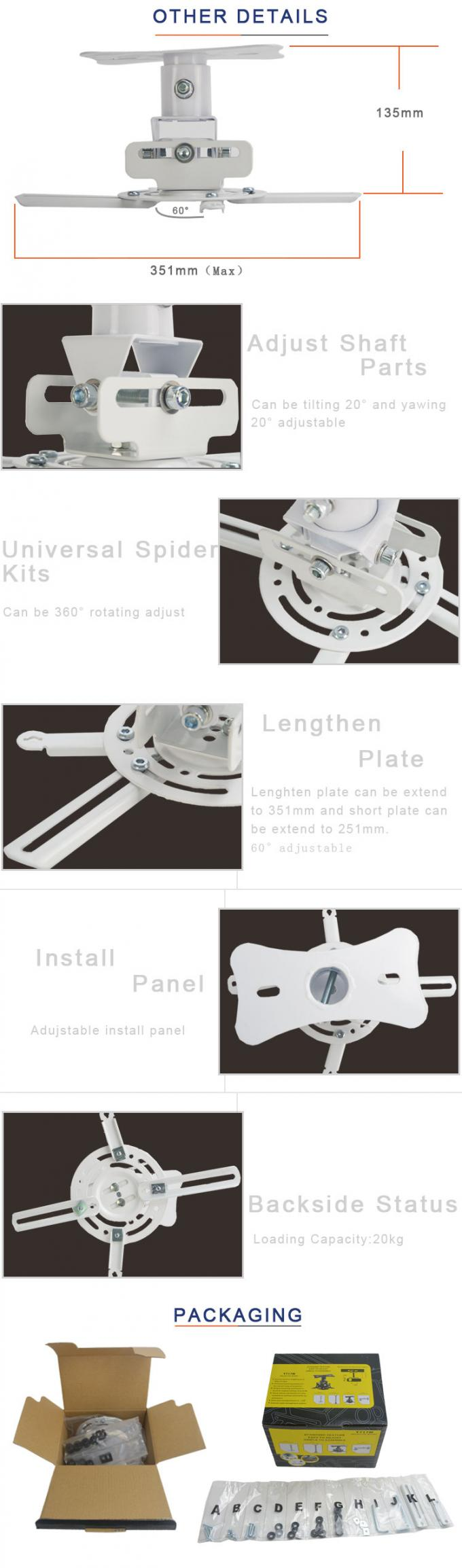 180 Degree  Swivel Tilt  White Telescopic ceiling mount for projector  With Short  Plate Supply For Meeting Room