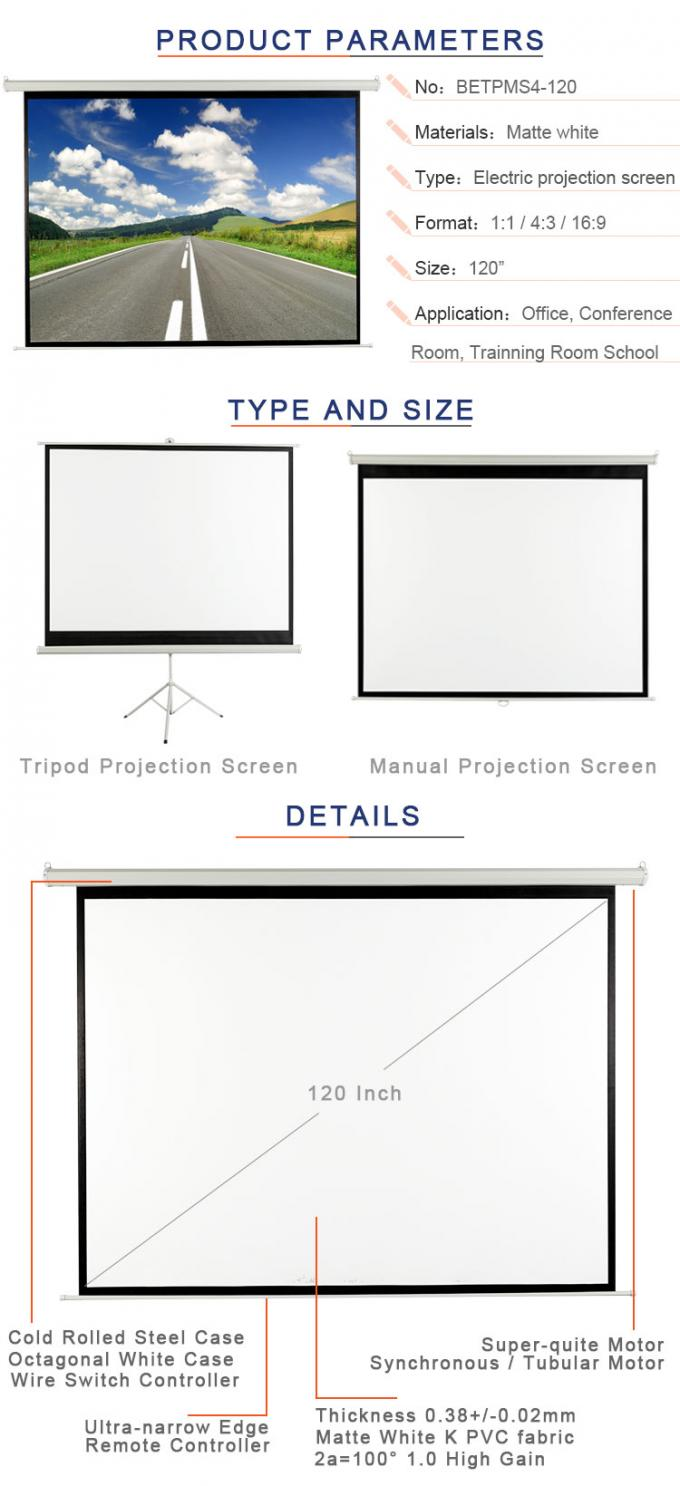 4:3 Format 120 Inch Diagonal Remote  Projection Projector Screen