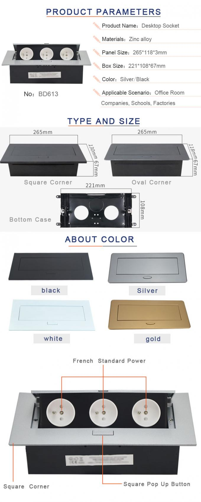 Sample Available Silver Color With French Standard Plug Table  Flip Up Hidden Socket