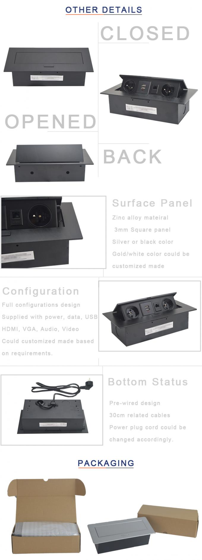 black color with double french interface hidden type media desktop socket