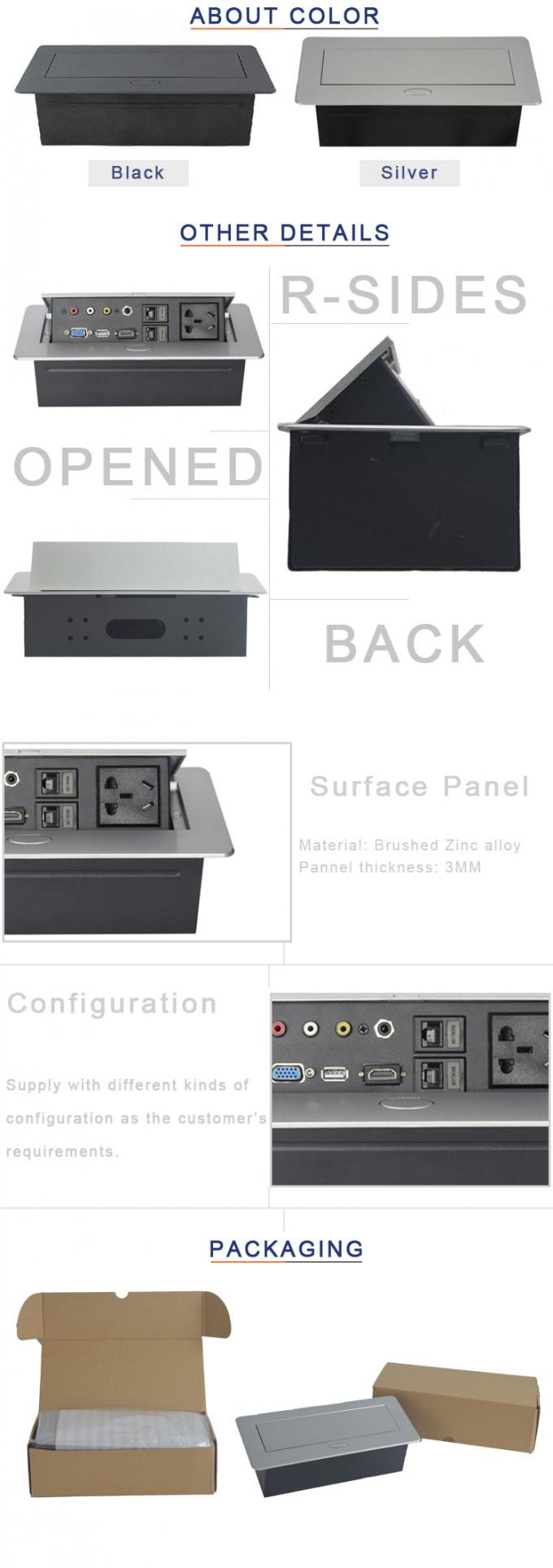 3-7 Days Delivery Time Zinc Alloy Material Tabletop Hidden Connector Oval Corner With VGA Interface