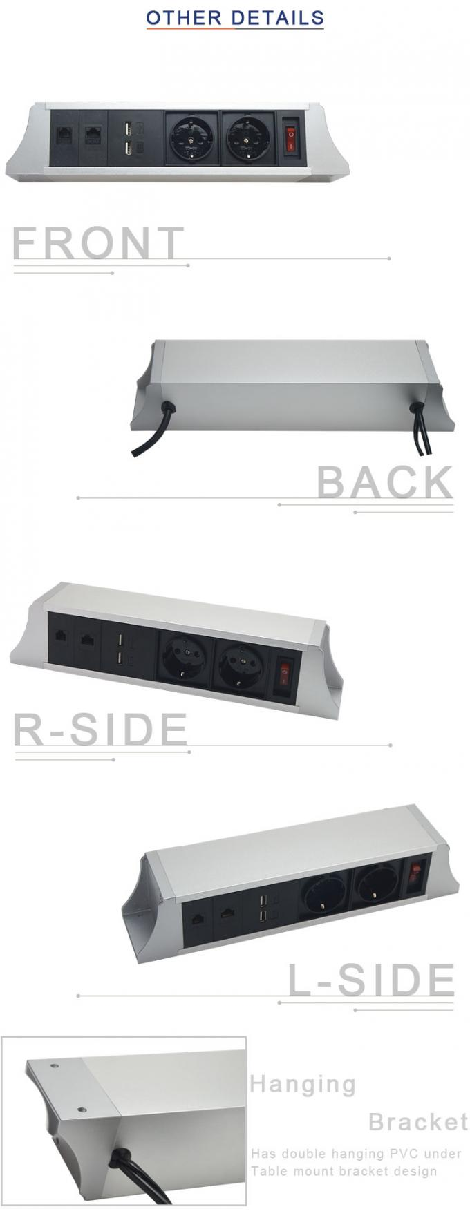 Modular Design Table Mounted Power Outlet With Telephone Interface