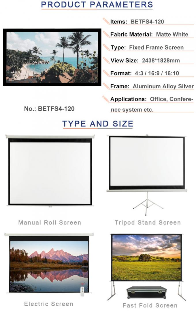 4:3 format 120 inch screen fixed frame with black velvet surface BETFS4-120