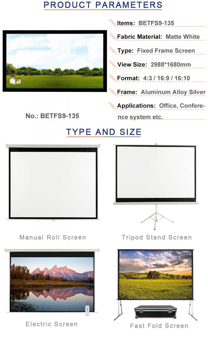 135 inch projection screen black velvet surface with screen fabric BETFS9-135