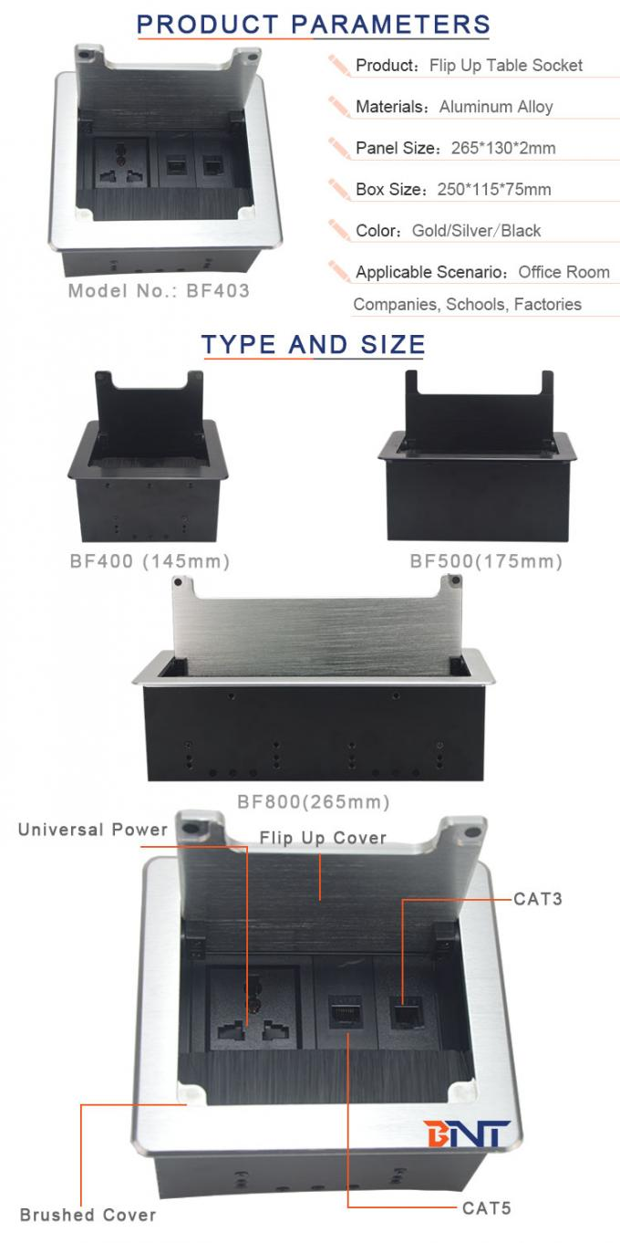 available customized table outlet with modular design used in training room BF403