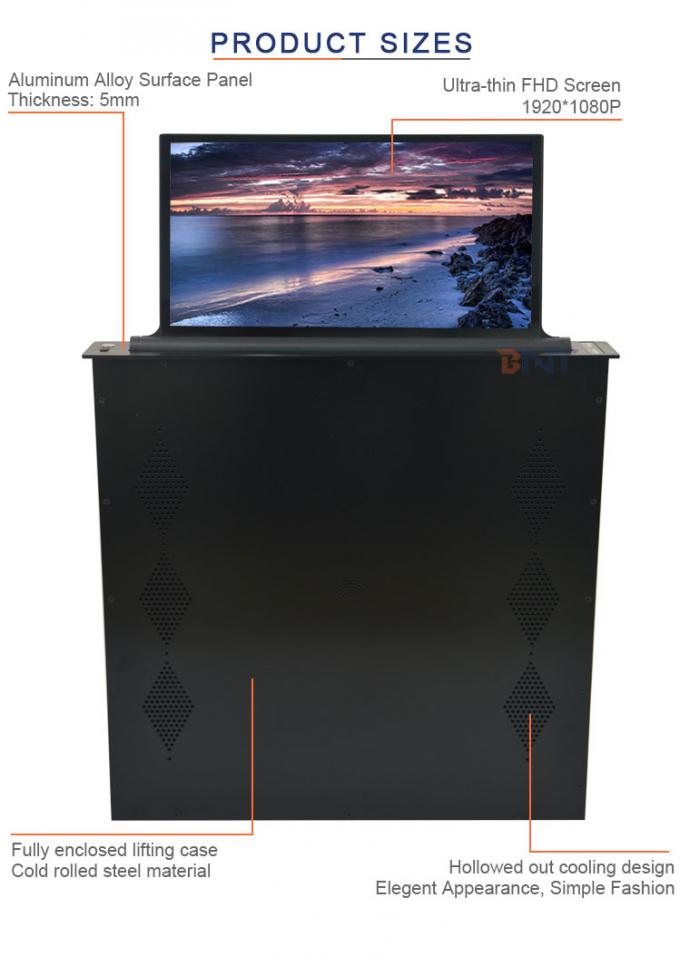 BNT with 15.6 inch  FHD screen used in large office room ultra-thin motorized monitor lift mechanism