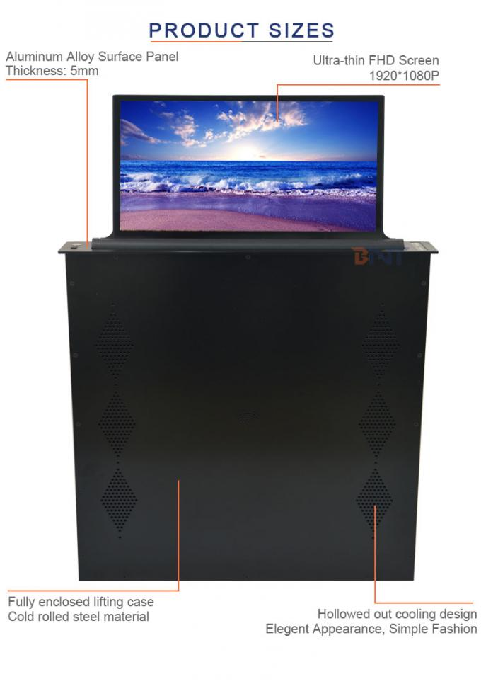 BNT 17.3 inch screen with brushed aluminum alloy panel  raising lcd monitor lifter