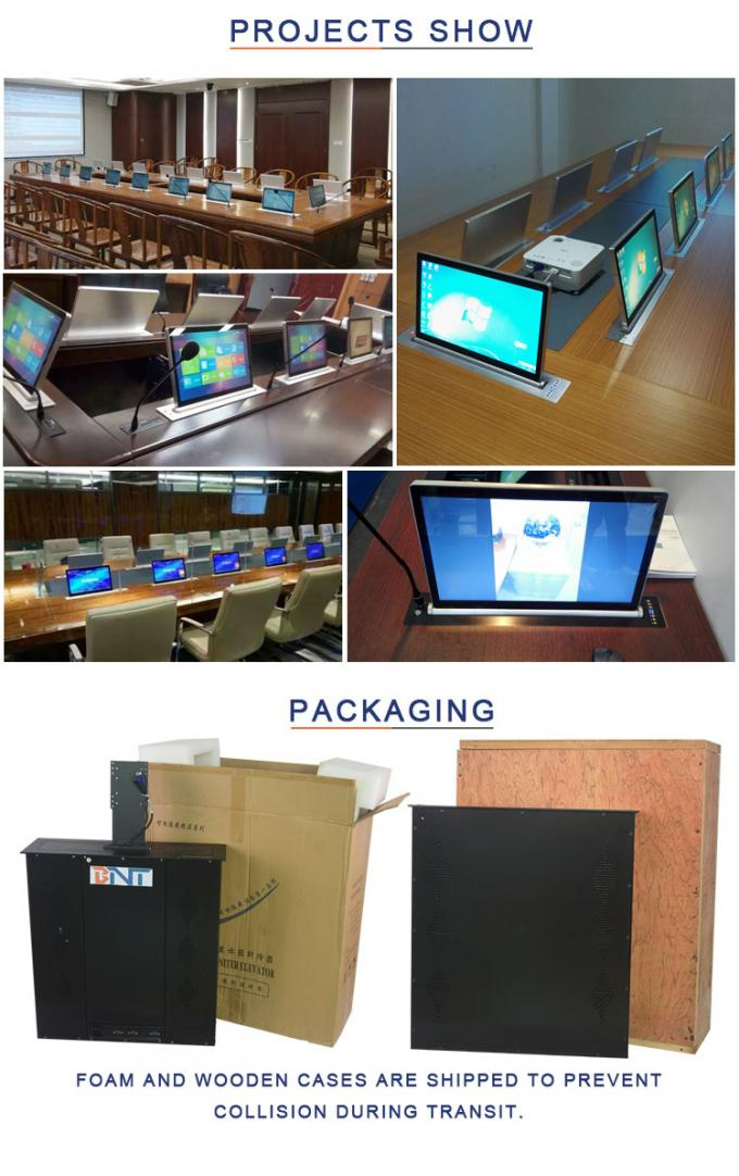 BNT   15.6 inch screen lcd monitor mechanism with conference system Mic used in larger business  meeting room  BLM-15.6