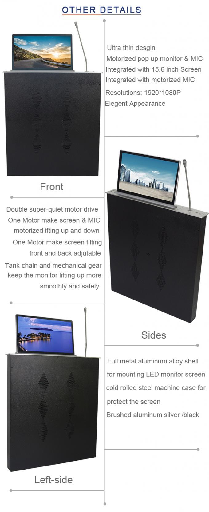 BNT used in meeting room motorized lcd monitor lift with the mic separate operation BLM-15.6M