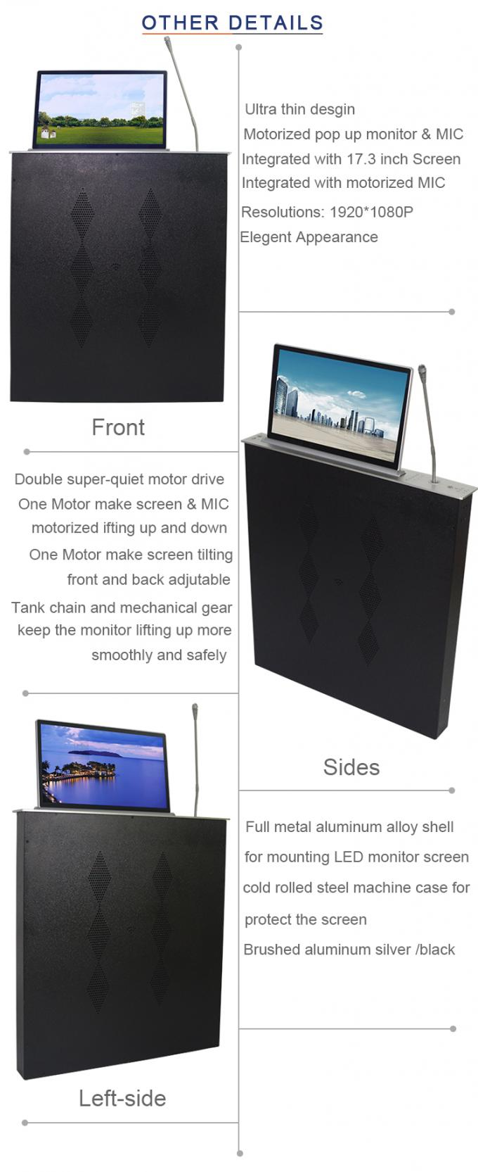 BNT aluminum alloy material with microphone 17.3 inch screen ultra-thin table lcd monitor lift