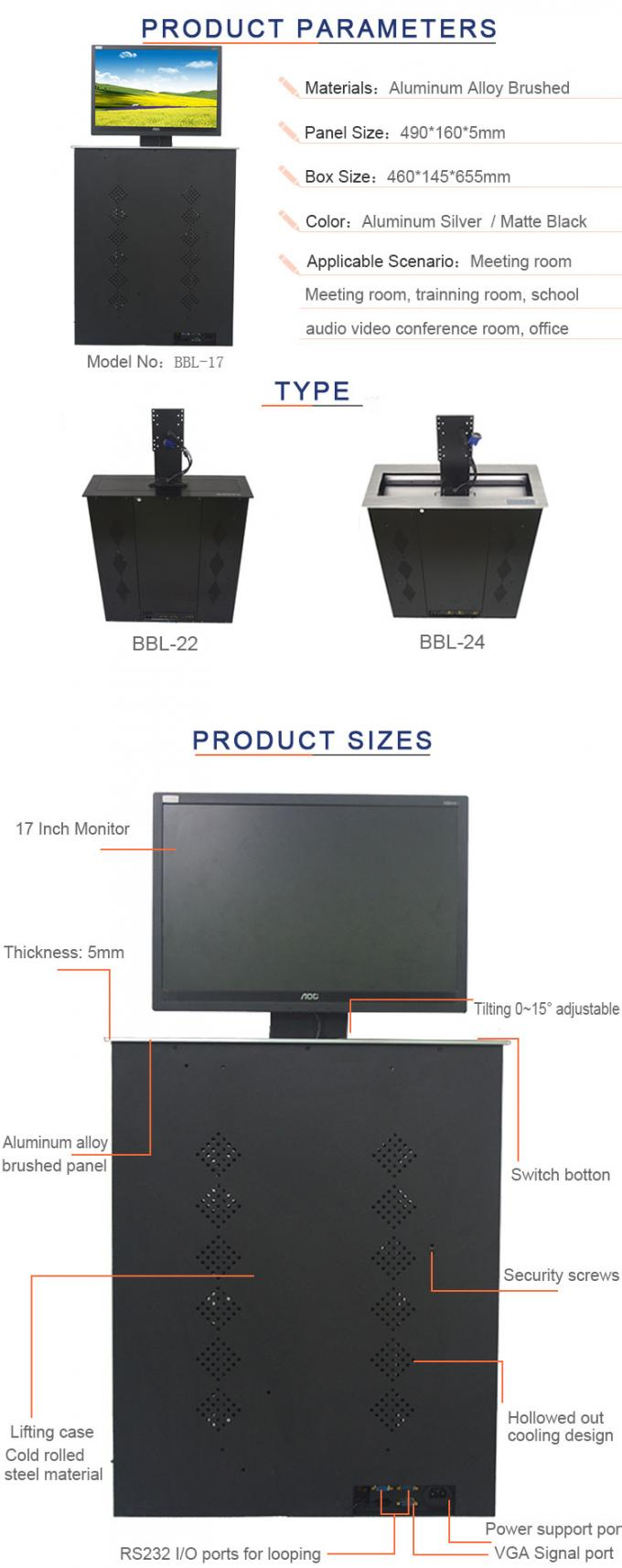 BNT with wireless control  17 inch screen motorized lcd monitor lift   BBL-17