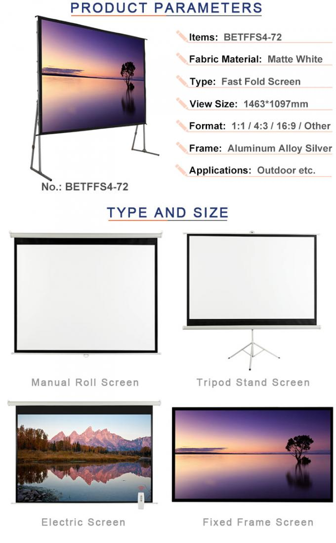 72 inch projector screen used in outdoor