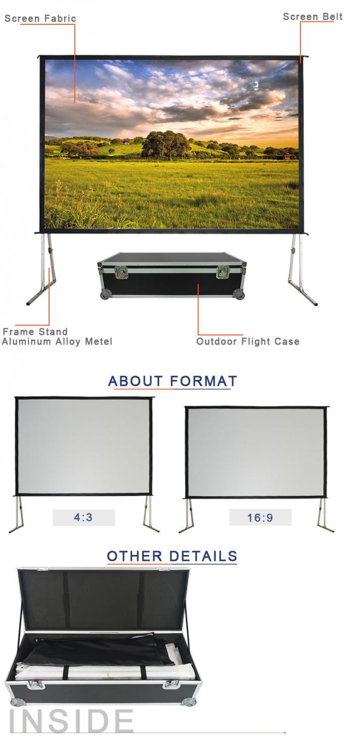 Fast Fold Motorised Projector Screen 84 Inch With Aluminum Alloy Frame