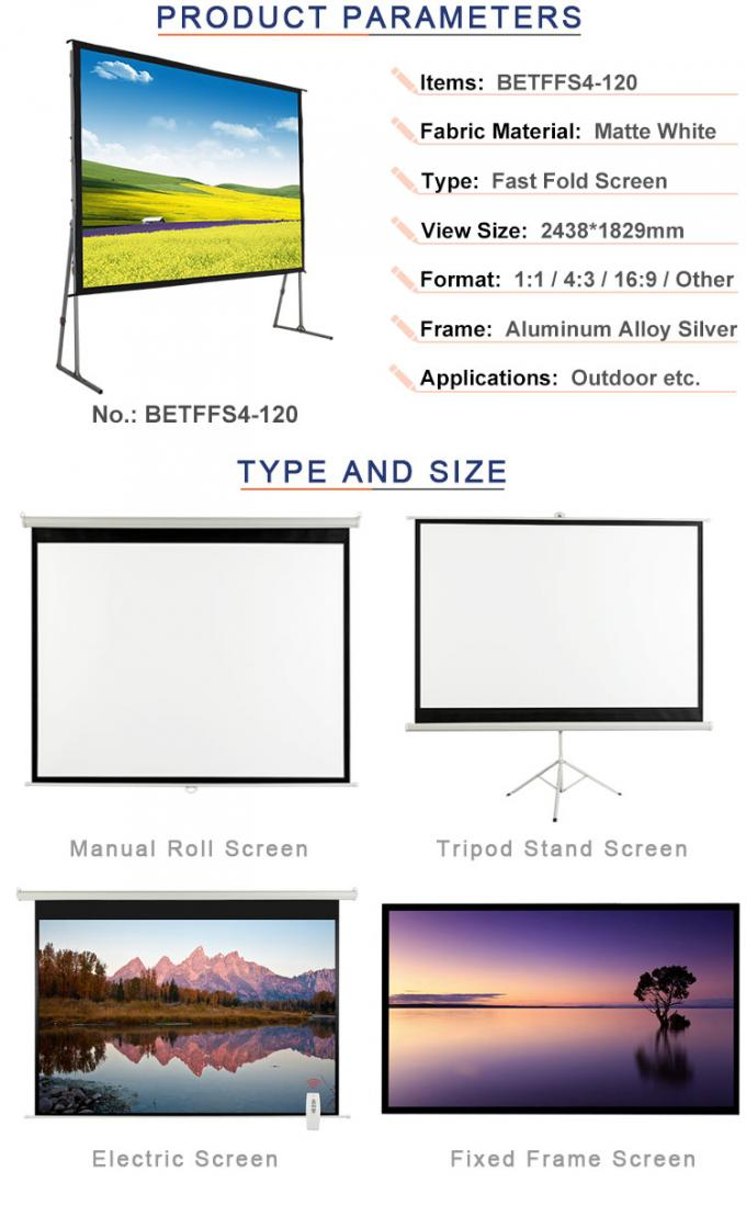 120 Inch Electric Projector Screen For Larger Church / Exhibition Hall