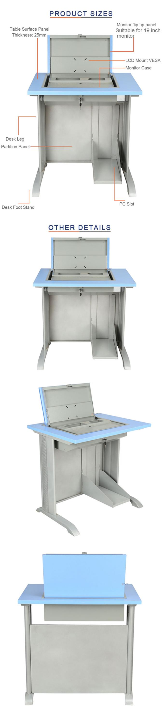 Double Flip Top Computer Desk For Audio - Video Conference Room / Classroom