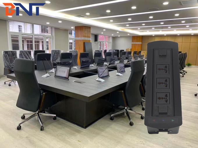 Manual Rotatable Conference Room Table Power Outlets , Desktop Hidden Power Socket