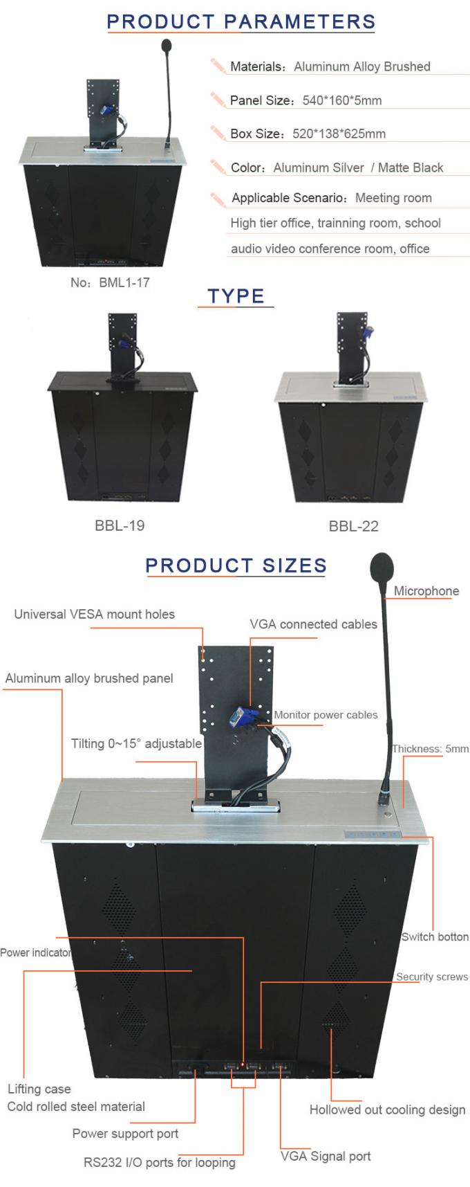 Audio Conference System Computer Monitor Lift , Motorized LCD Lift Mechanism