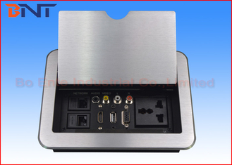 China HDMI Conference Room Table Electrical Outlets , Flip Up Desk Mounted Power Sockets factory