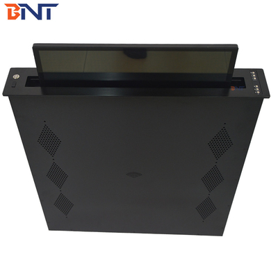 Integrated Motorized Monitor Lift With Brushed Aluminum Alloy Panel