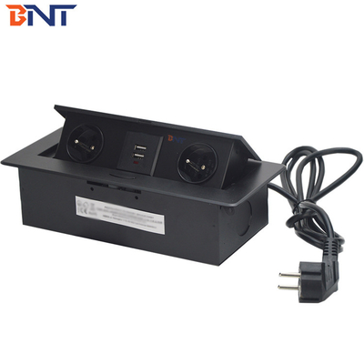 10A Rated Current Black  Oval Corner Desktop Pop Up Hidden Outlet With USB Charger Jack