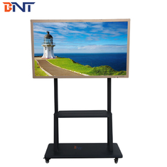 China 170CM Height Mobile TV Stand Black Color With Horizontal Design supplier