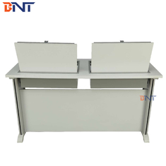 Manual Flip Top Computer Desk With Buffering Hydraulic Pressure Lock