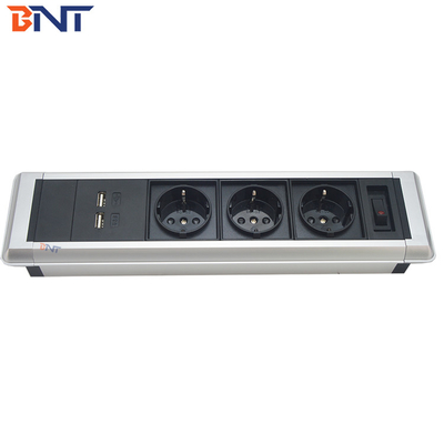China hidden screws design with three EU power aluminum alloy material table mount outlet factory