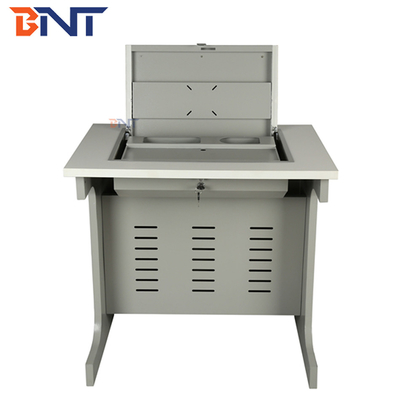 China Cold Rolled Steel Flip Top Computer Desk , Manual Rotating Single Computer Table supplier
