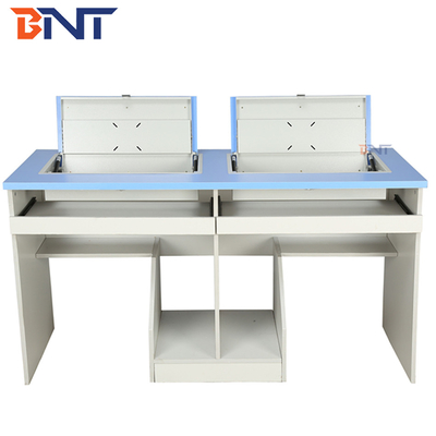 Anti Rust Double Student Computer Desk With Flip Up Hidden LCD Screen Case