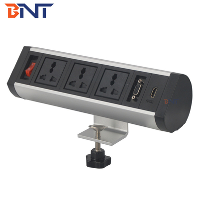 China aluminum alloy movable electrical power track socket outlets/conference table top electric power socket factory