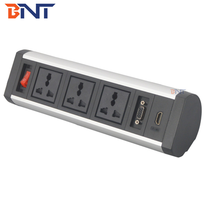 China new design clamping table mounted desktop socket outlet with metal bracket factory
