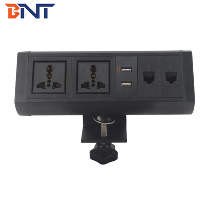 double usb  charger connector supply the bracket clamp on desk movable socket BTS-408