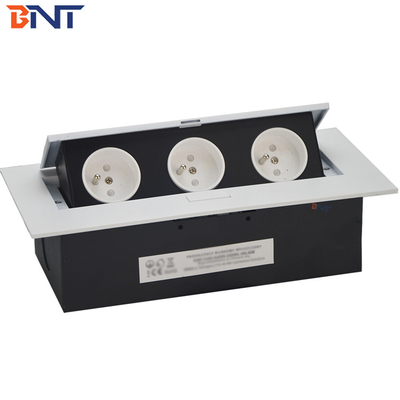 China Sample Available Silver Color With French Standard Plug Table  Flip Up Hidden Socket supplier