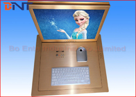 "Gold Color 19"" Computer Monitor Lift  , Flip Up LCD Lift With Infrared Sensor"