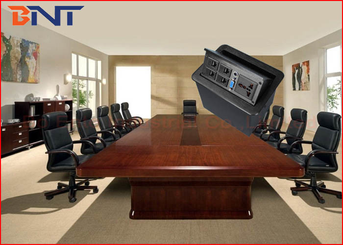 Telephone Hidden Desktop Power Sockets , Office Furniture Table Pop Up Sockets