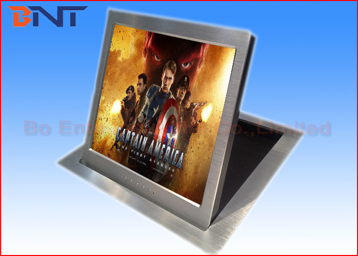 Motorized Computer Monitor Lift Brushed Aluminum With Vertical Flip Up Monitor