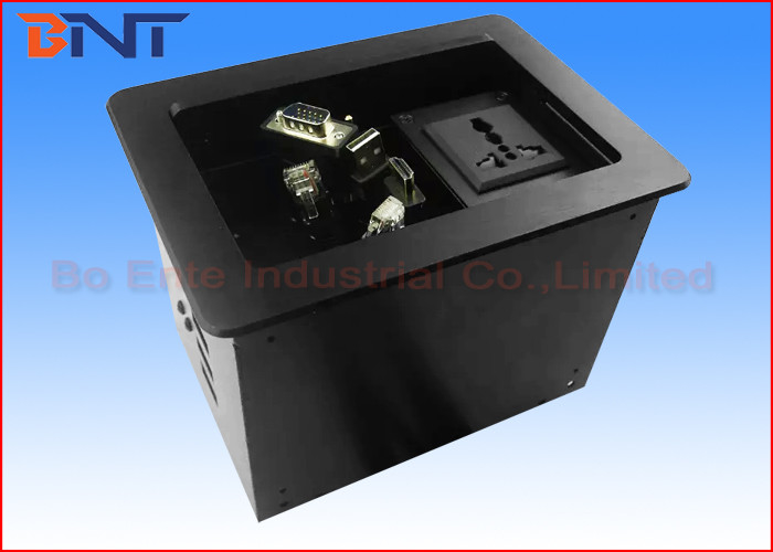 Commercial Compact Table Cable Cubby , Slip Up Conference Table Connectivity Box