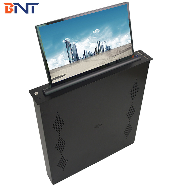 Brushed Aluminum Alloy  Panel Conference Table LED Screen Lifting Up Mechanism 17.3 Inch Screen BLL-17.3