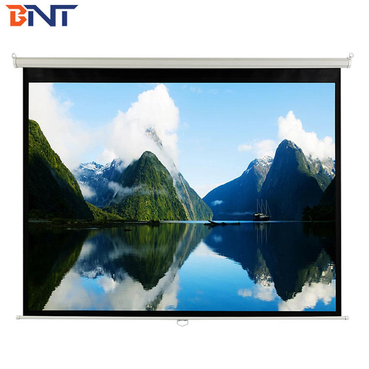 White Manual  Projection Projector Screen  100 Inch  With  Metal  Handle For Confence Room