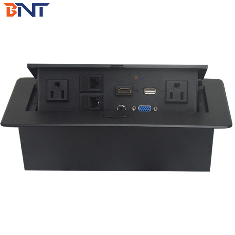 Zinc Alloy Material Black Oval Corner Desk Pop Up Power Data Connector For Meeting Room