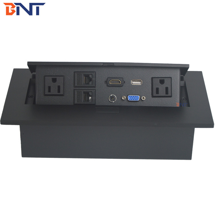 Can Be Customized Zinc Alloy  Desk Pop Up Hidden Outlet With HDMI / Audio Configuration