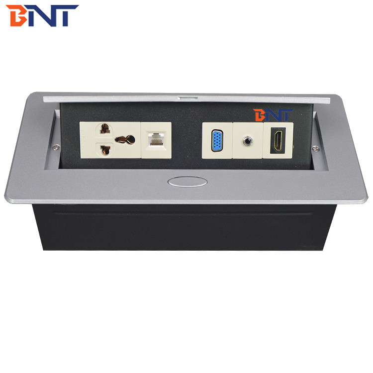 Availbale Customized Different Modules  Silver Color Desk Pop Up Hidden Connector Supply For Conference  Room BD610-2