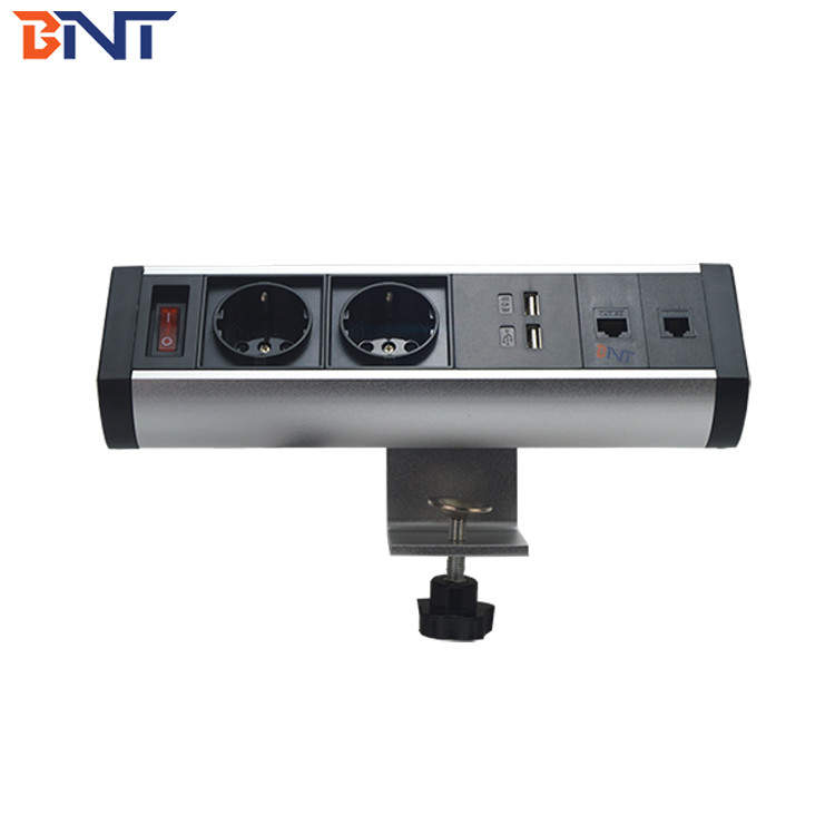 movable on different  place clamp on table power  outlet with double network interface BTS-402EU